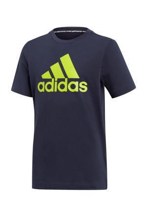 sport T-shirt donkerblauw/limegroen