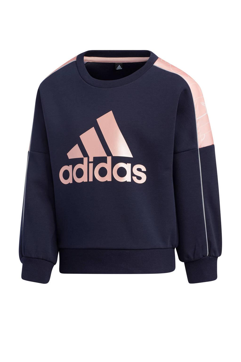 adidas Performance sportsweater donkerblauw/roze, Donkerblauw/roze