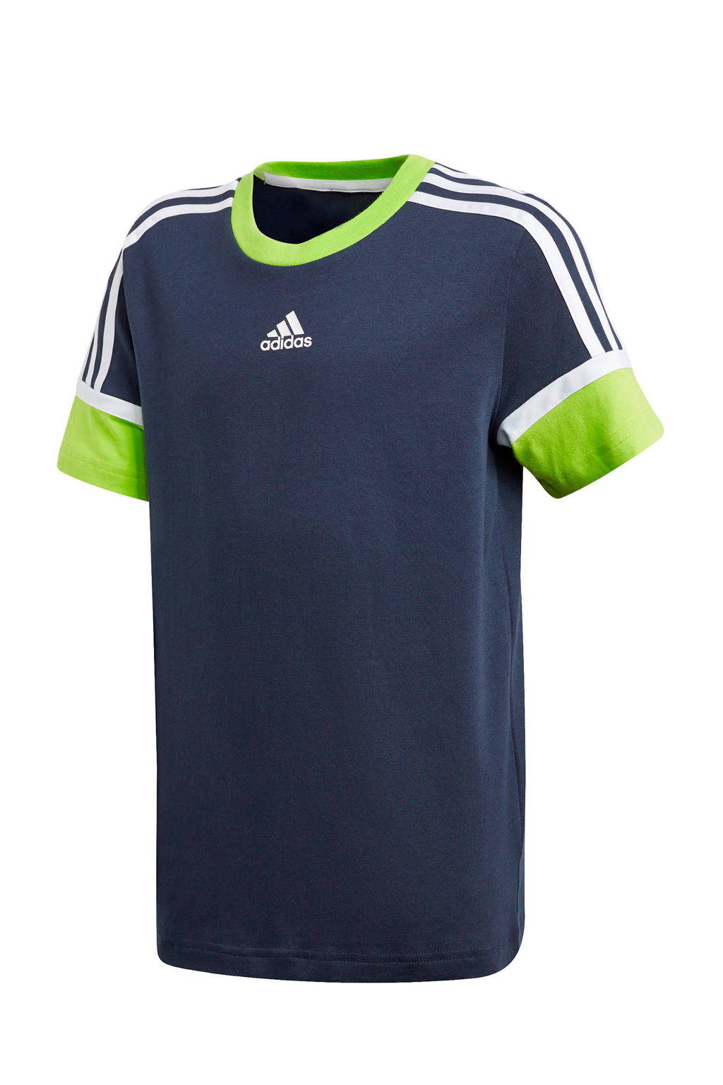 adidas Performance   sport T-shirt donkerblauw/lime, Donkerblauw/lime