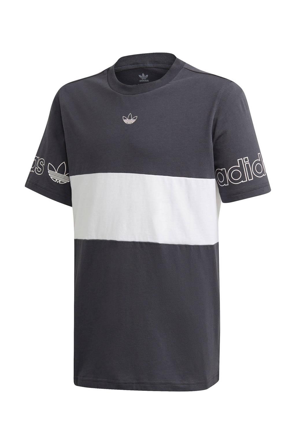 adidas Originals T-shirt grijs/wit, Grijs/wit