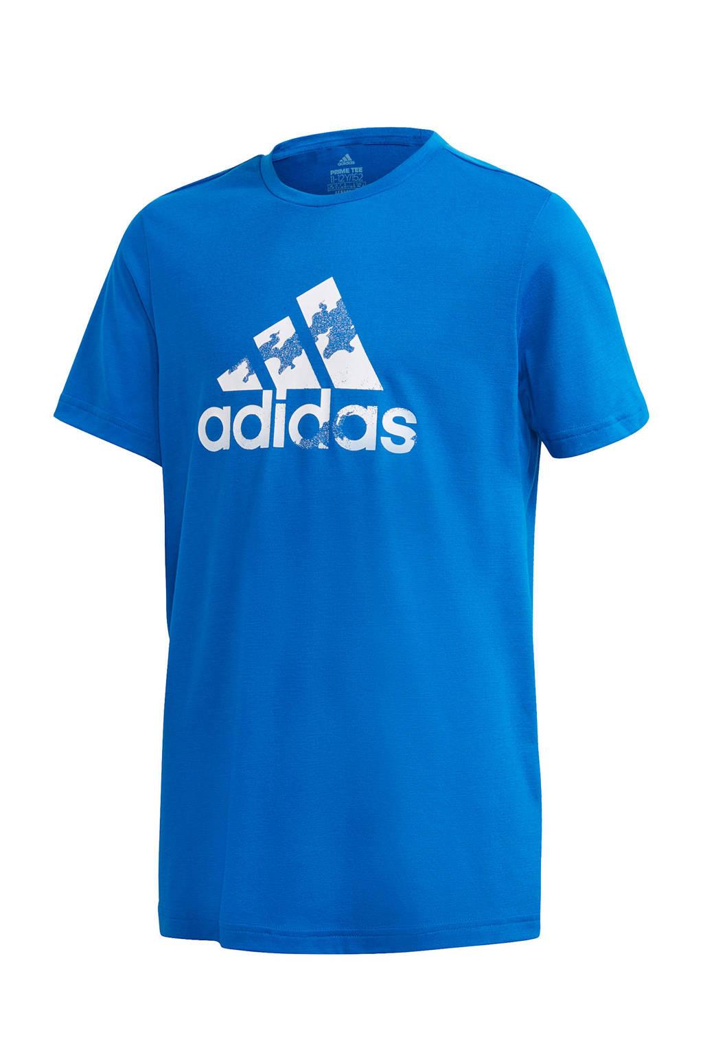 adidas Performance   sport T-shirt blauw/wit, Blauw/wit
