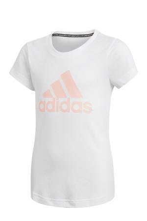 sport T-shirt wit/lichtroze