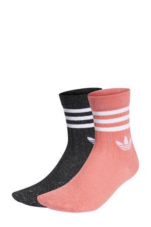 sokken - set van 2 zwart/roze