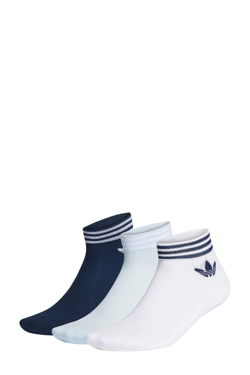 adidas Originals   Adicolor enkelsokken (set van 3), Blauw/wit