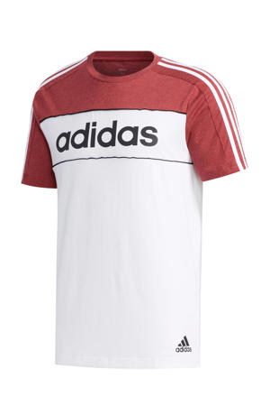 sport T-shirt rood/wit