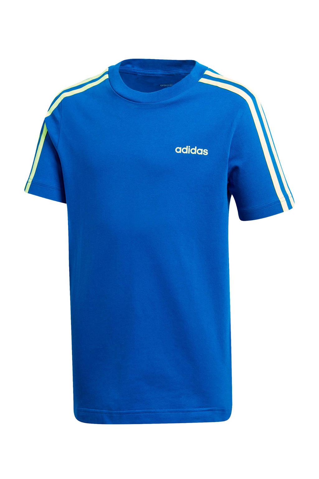 adidas Performance   sport T-shirt blauw/limegroen, Blauw/limegroen