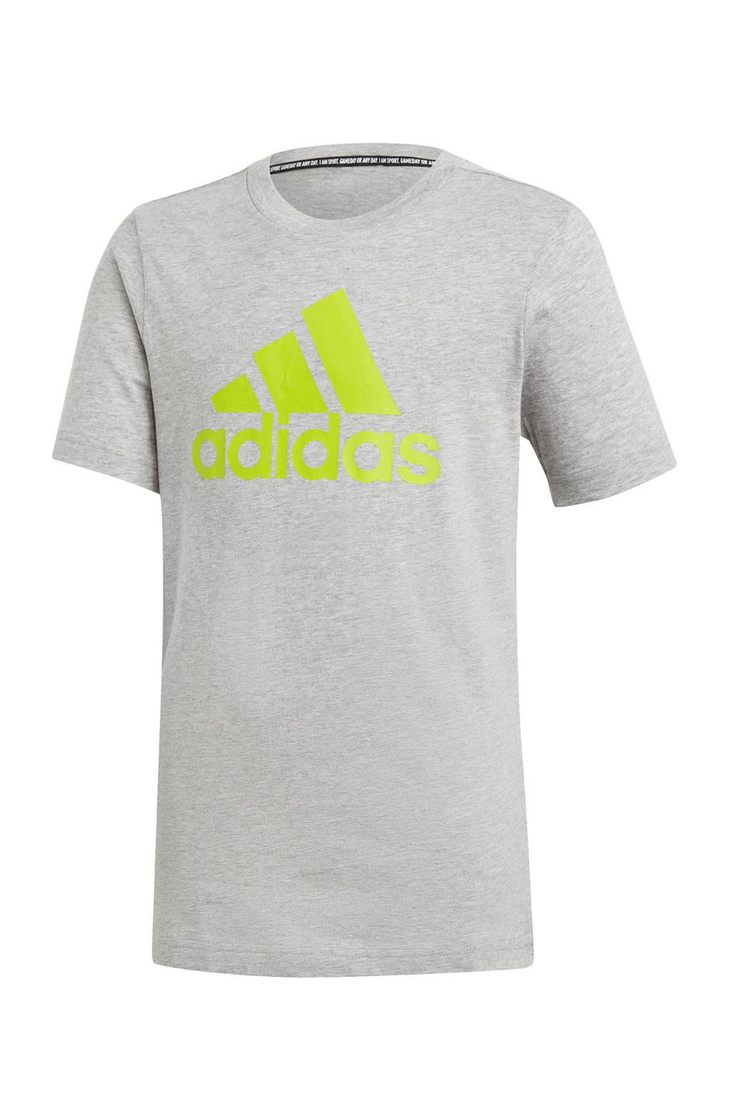 adidas Performance   sport T-shirt grijs/limegroen, Grijs/limegroen