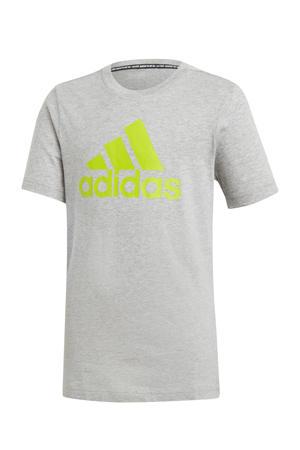 sport T-shirt grijs/limegroen
