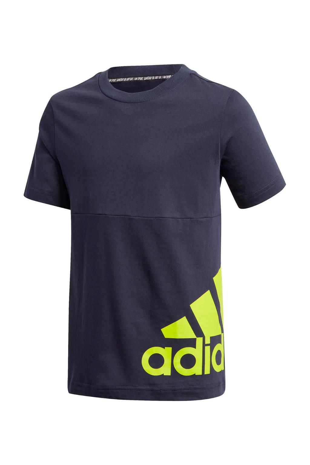 adidas Performance   sport T-shirt donkerblauw/limegroen, Donkerblauw/limegroen