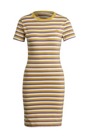 gestreepte T-shirtjurk paars/wit/geel