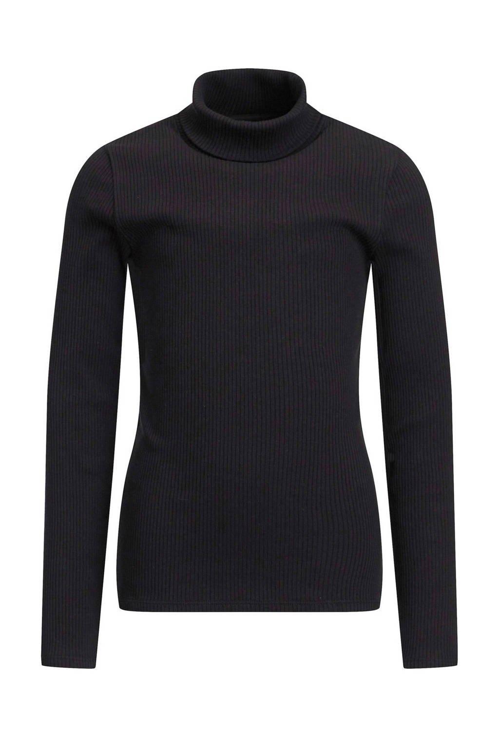 WE Fashion ribgebreide coltrui Myla zwart, Zwart
