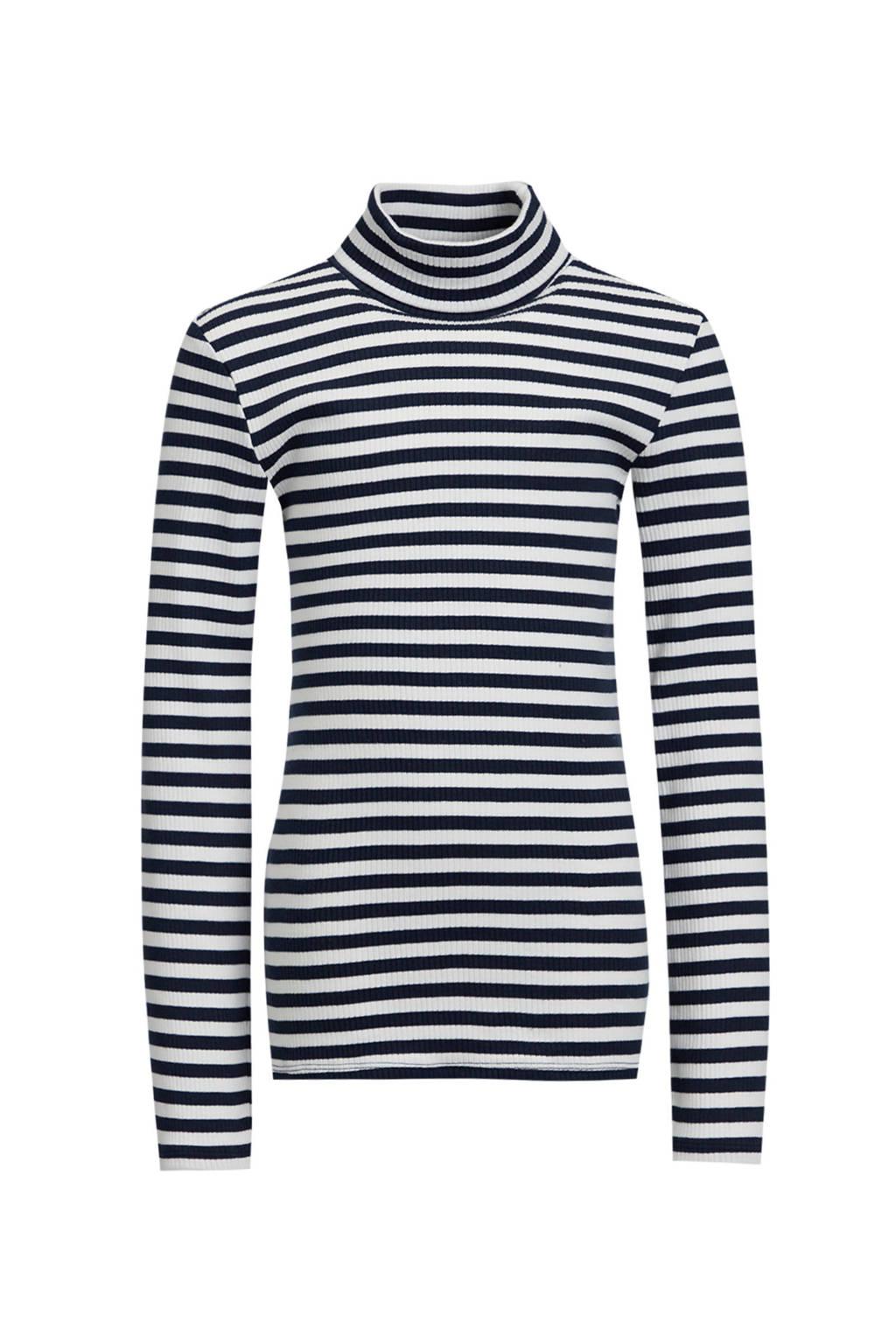 WE Fashion gestreepte ribgebreide longsleeve donkerblauw/ecru, Donkerblauw/ecru