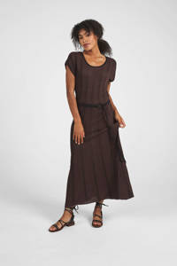 Expresso maxi jurk met ceintuur donkerbruin, Donkerbruin