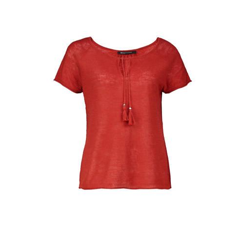 Expresso top met linnen rood