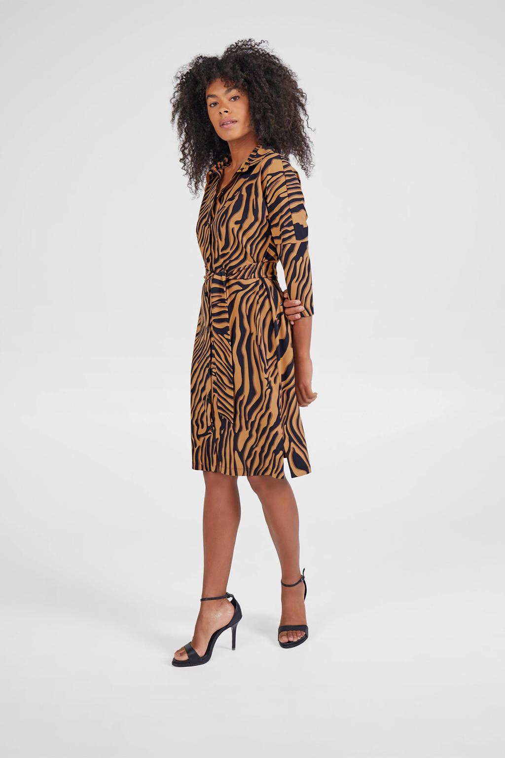 Expresso blousejurk met zebraprint en ceintuur bruin/zwart, Bruin/zwart