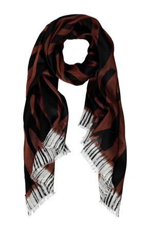 sjaal bruin/zwart