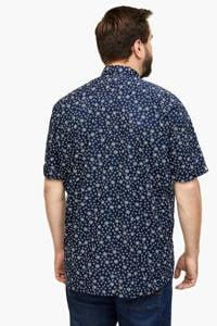 s.Oliver regular fit overhemd met bladprint blauw, Blauw