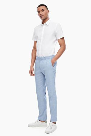 gemêleerde slim fit pantalon lichtblauw