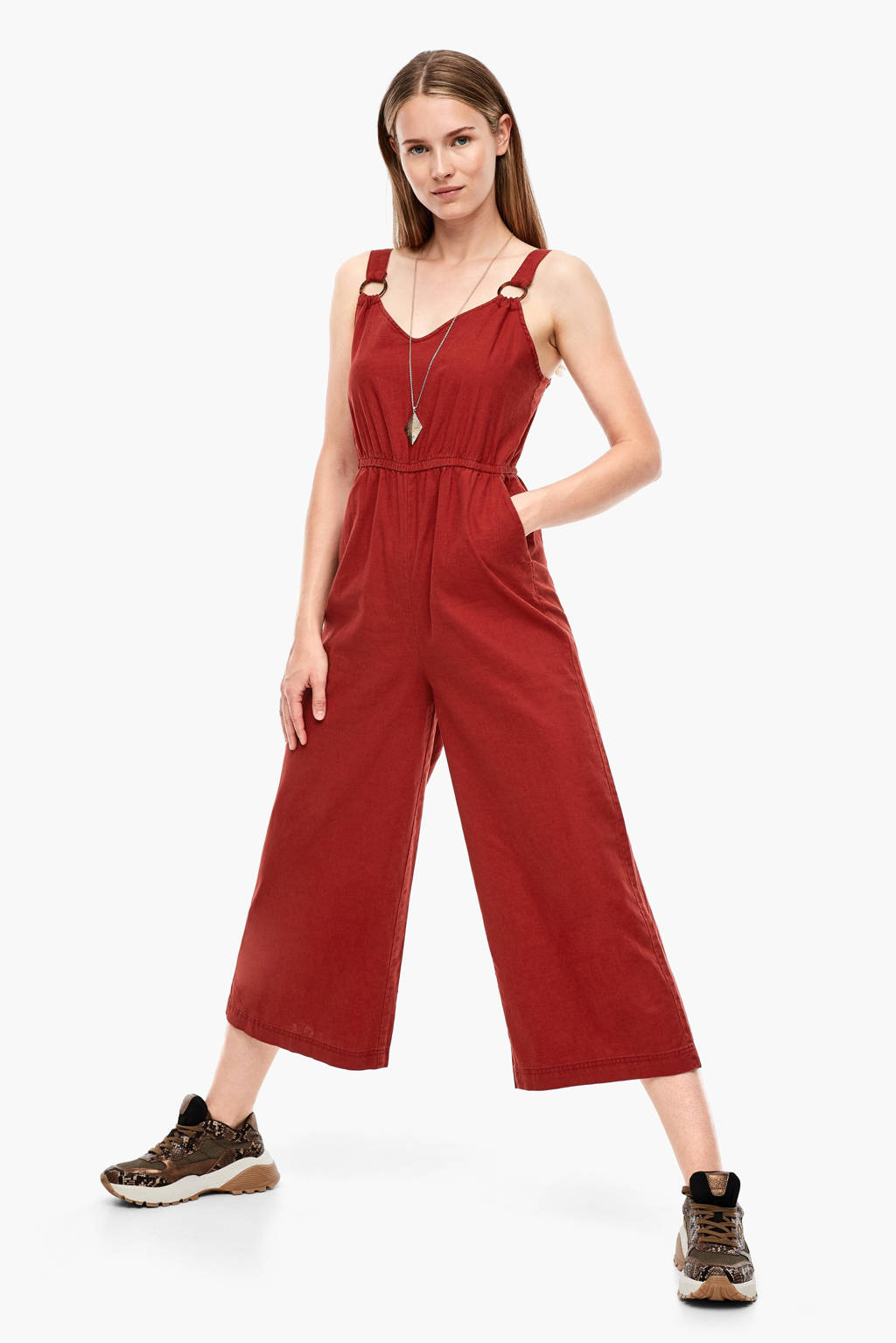 Q/S designed by jumpsuit met linnen rood, Rood