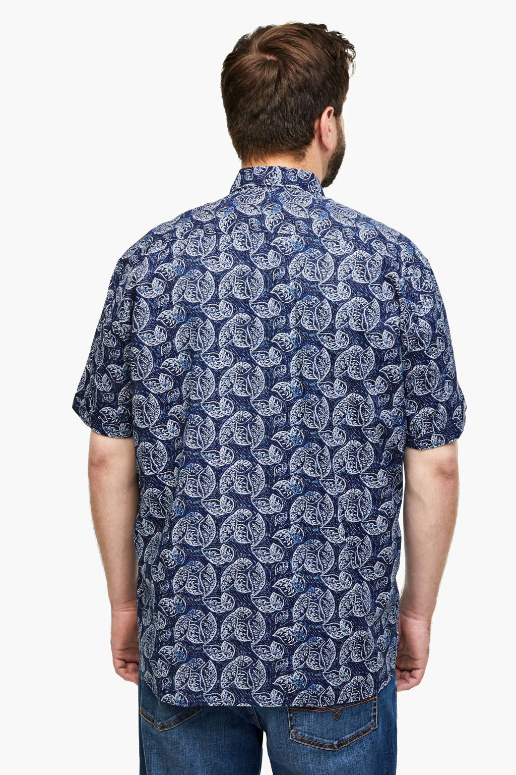 s.Oliver regular fit overhemd met all over print donkerblauw, Donkerblauw