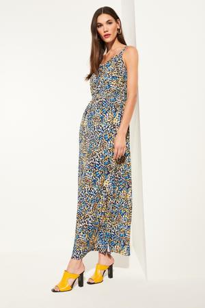 maxi jurk met all over print geel/blauw