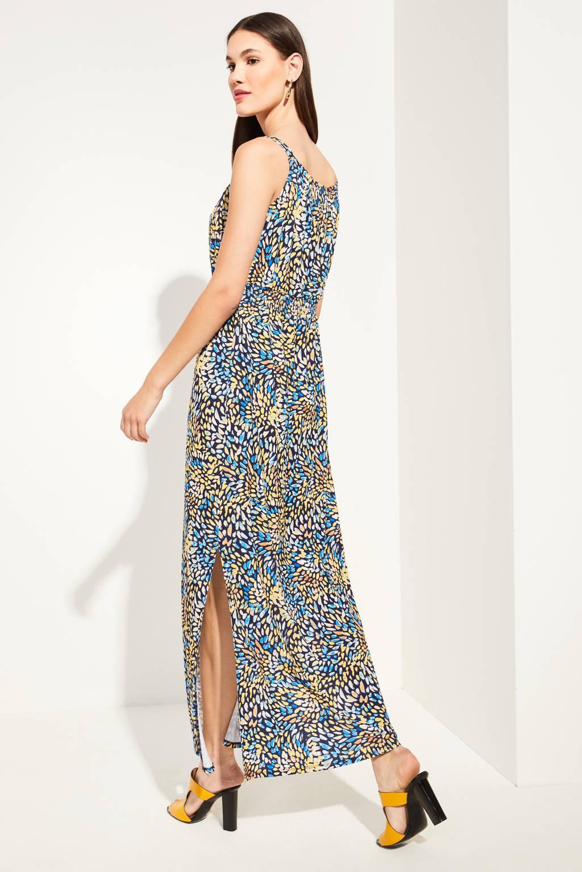 comma maxi jurk met all over print geel/blauw, Geel/blauw