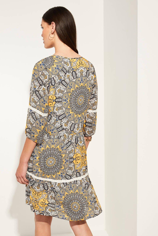 comma jurk met all over print lichtbruin, Lichtbruin
