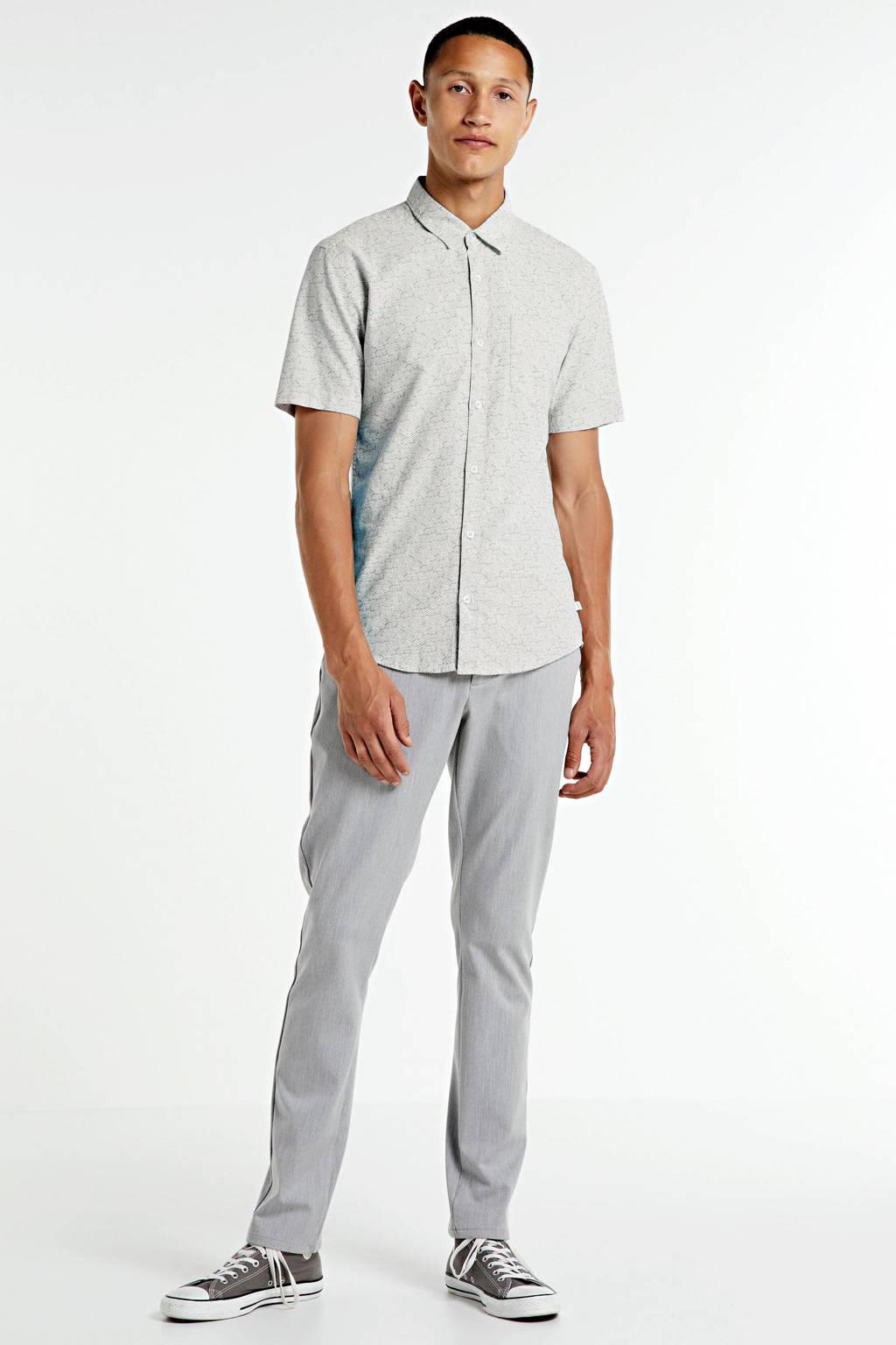 Q/S designed by slim fit overhemd met all over print grijs, Grijs