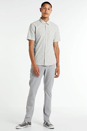 slim fit overhemd met all over print grijs