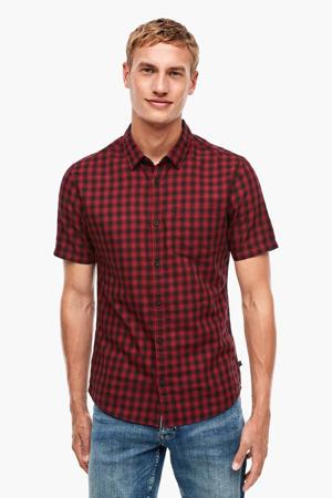 geruit slim fit overhemd rood