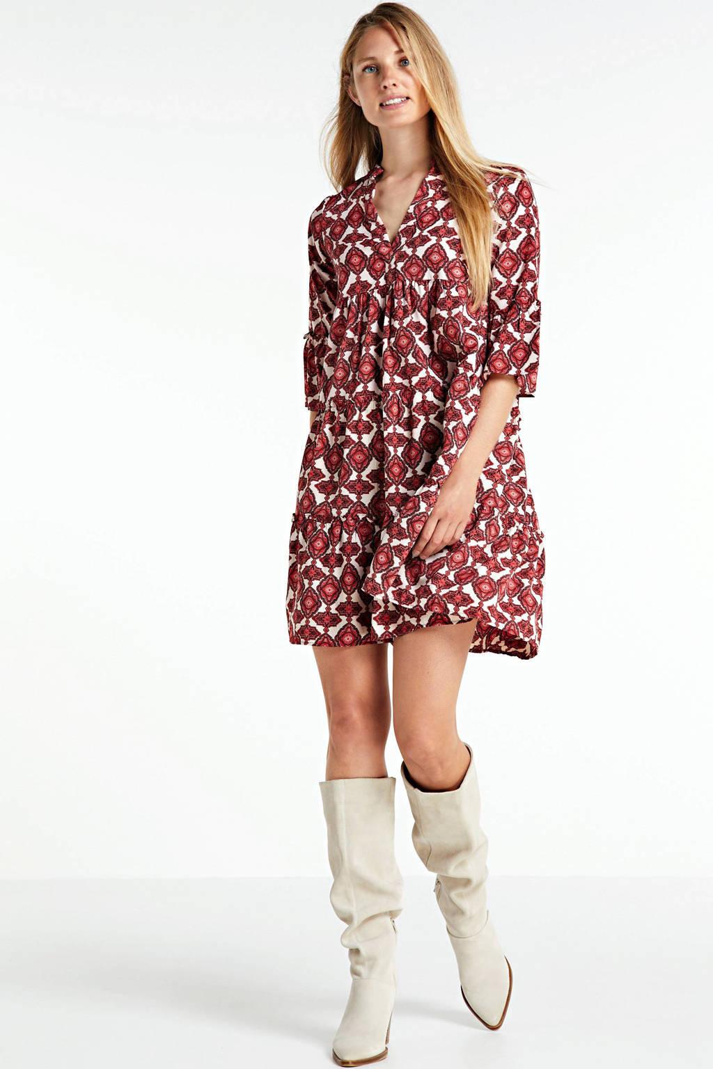 VERO MODA jurk Paria met all over print en volant rood/wit, Rood/wit