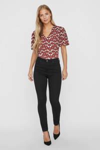 VERO MODA blouse met all over print donkerrood, Donkerrood