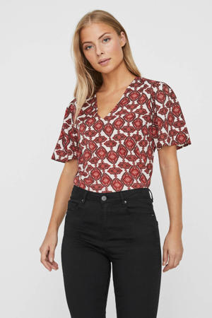 blouse met all over print donkerrood