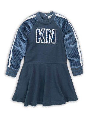 baby A-lijn jurk met tekst en pailletten blauw/wit