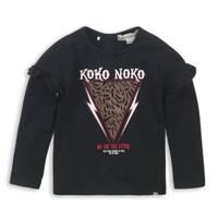 Koko Noko longsleeve met printopdruk en ruches zwart/rood/wit, Zwart/rood/wit