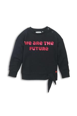 sweater met tekst zwart/roze