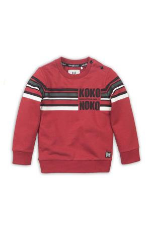 sweater met printopdruk rood/wit/zwart