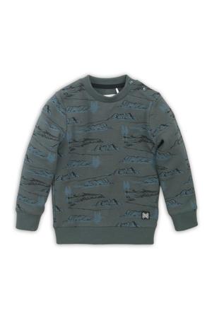 sweater met all over print donkergroen/blauw/zwart