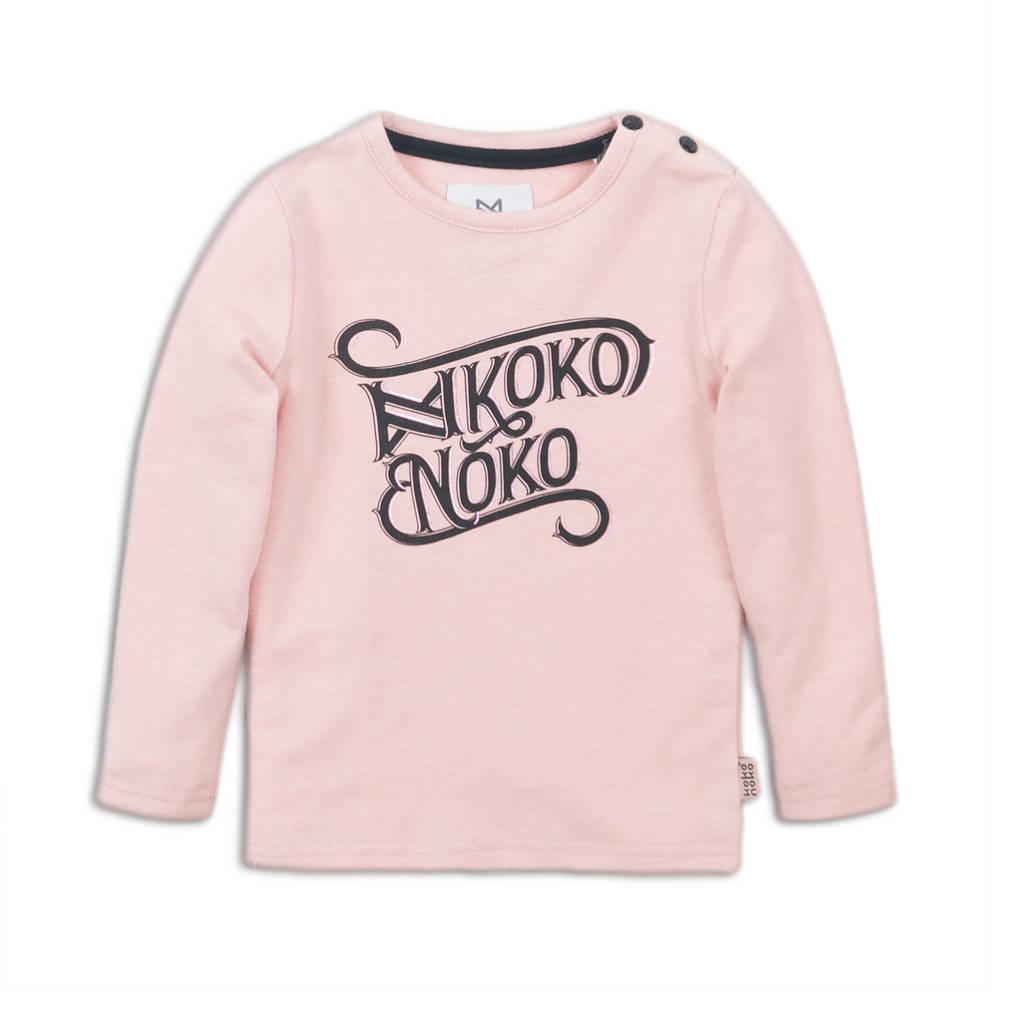 Koko Noko longsleeve met tekst lichtroze/zwart, Lichtroze/zwart