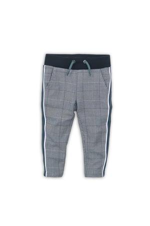 geruite broek met zijstreep zwart/wit/groen
