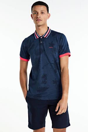 regular fit polo met contrastbies en contrastbies donkerblauw