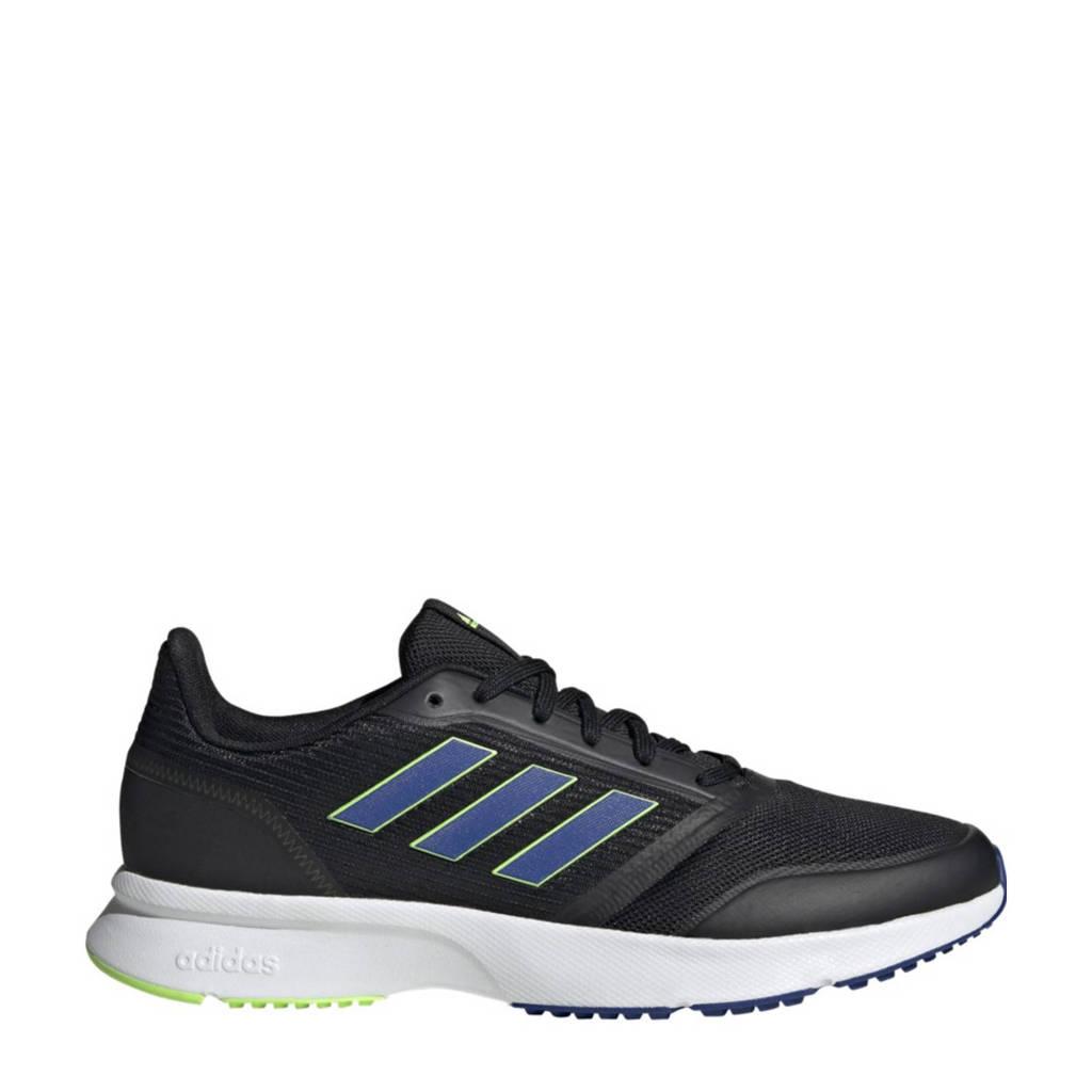 adidas Performance Nova Flow  hardloopschoenen zwart/blauw/limegroen, Zwart/blauw/limegroen, Heren