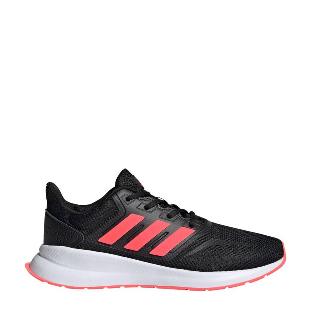 adidas Performance Run Falcon  hardloopschoenen zwart/wit kids, Zwart/roze, Jongens/meisjes