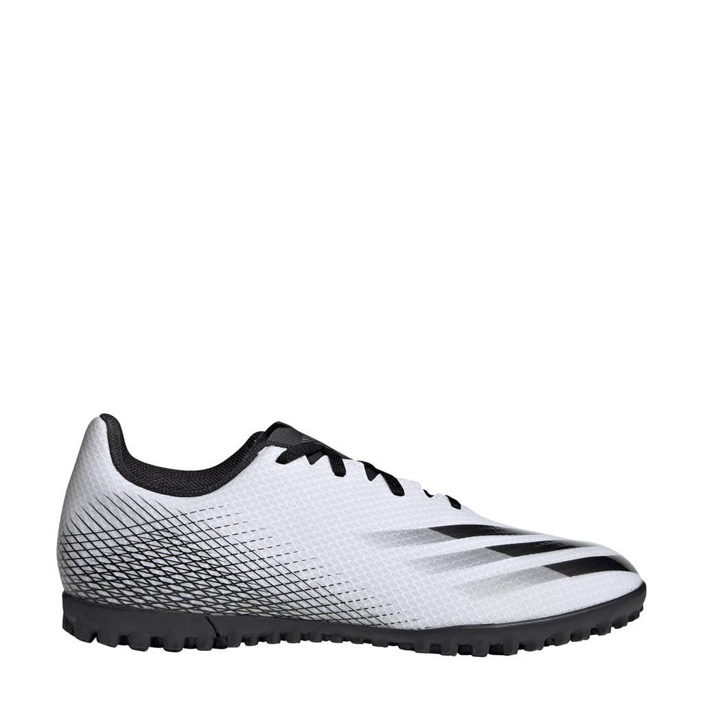 adidas Performance X Ghosted.4 TF Sr. voetbalschoenen wit/zwart/zilver, Wit/Zwart/Zilver