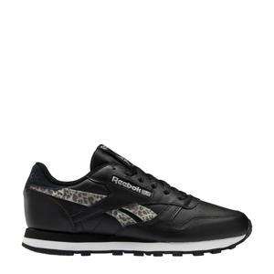 Classic Lthr leren sneakers met luipaardprint zwart/wit/zilver