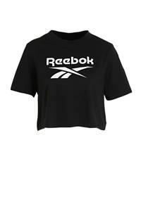 Reebok Training cropped sport T-shirt zwart, Zwart/wit