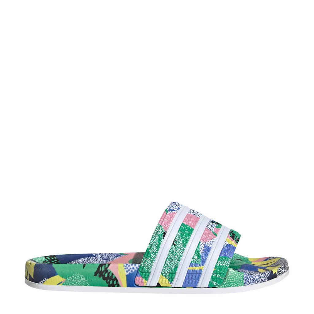 adidas Originals Adilette  badslippers groen/wit/roze, Groen/wit/roze