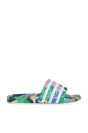 Adilette  badslippers groen/wit/roze