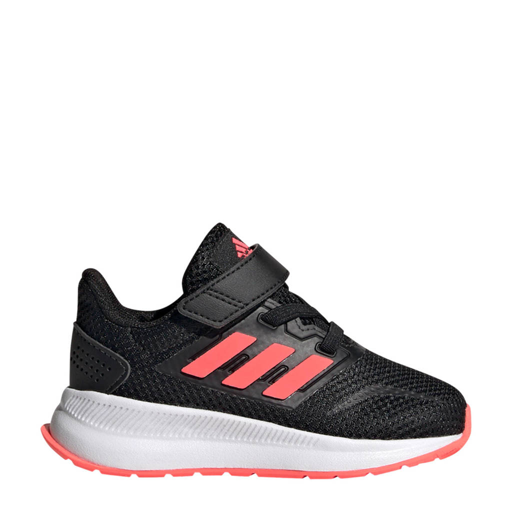 adidas Performance Run Falcon  hardloopschoenen zwart/roze kids, Zwart/roze