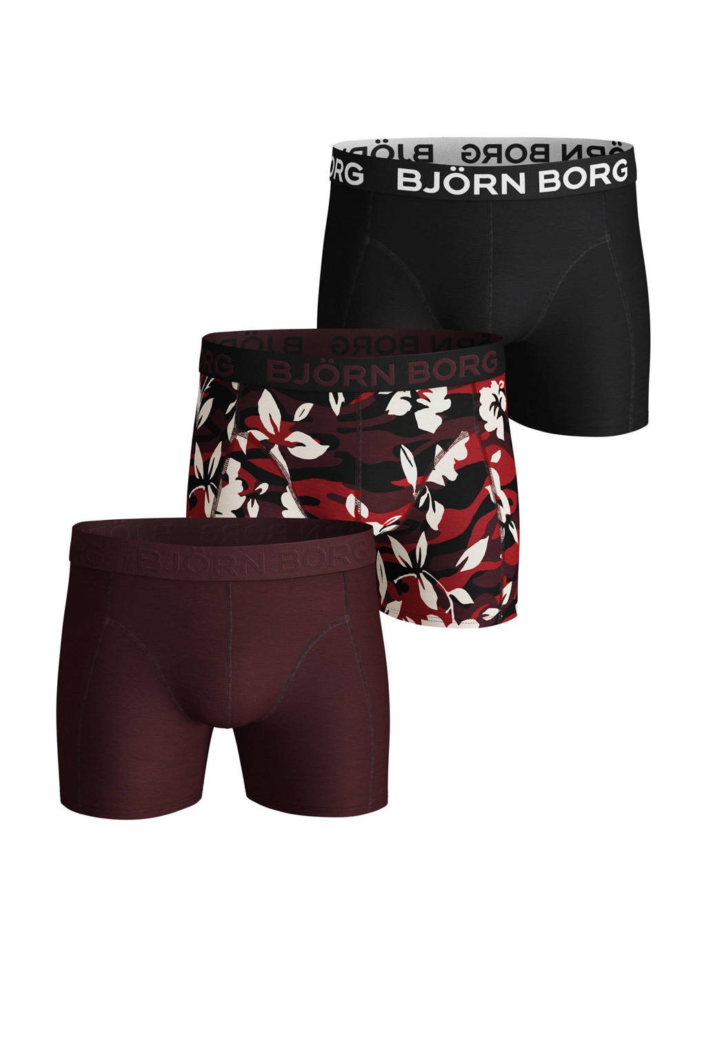 Björn Borg boxershort (set van 3), Zwart/donkerrood